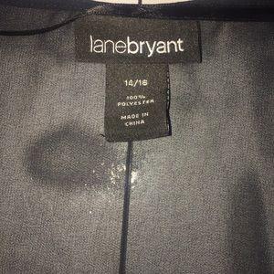 Lane Bryant Tops - Lane Bryant 14/16 Black Faux Wrap Blouse Top Sheer
